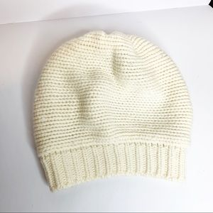 Protolano wool blend sequin ivory knit hat beanie